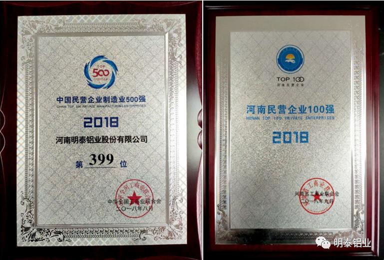 明泰铝业荣誉证书